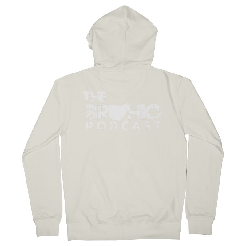 Brohio logo ALL WHITE Men's French Terry Zip-Up Hoody by Brohio Merch