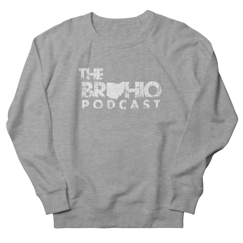 Brohio logo ALL WHITE Men's French Terry Sweatshirt by Brohio Merch
