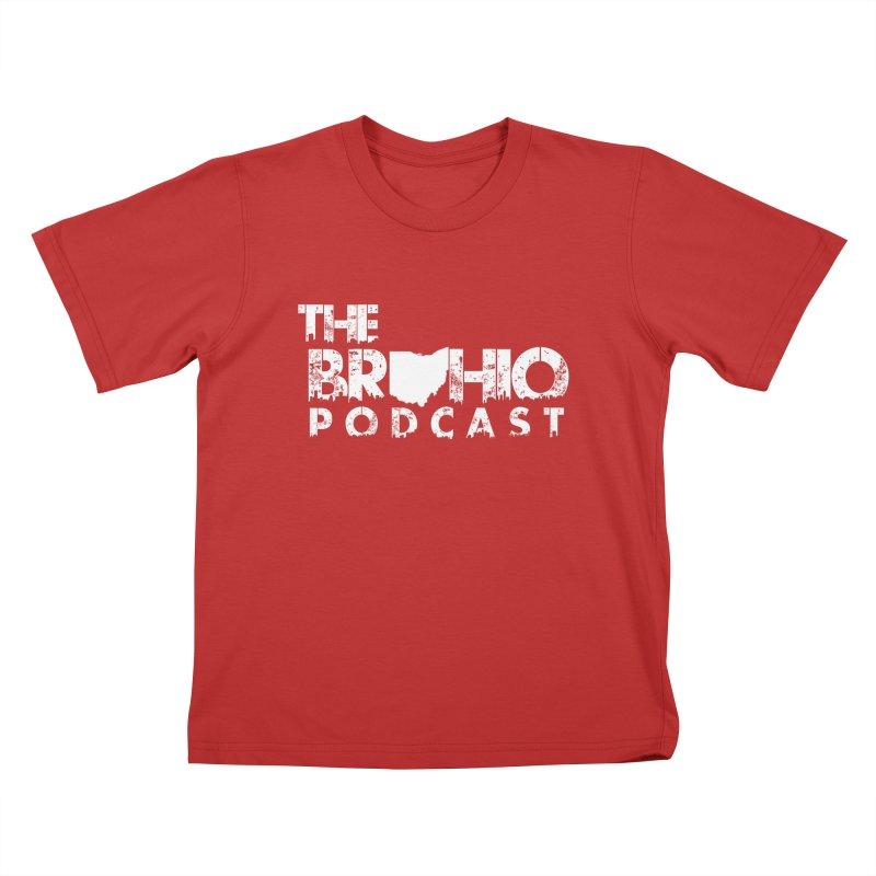Brohio logo ALL WHITE Kids T-Shirt by Brohio Merch