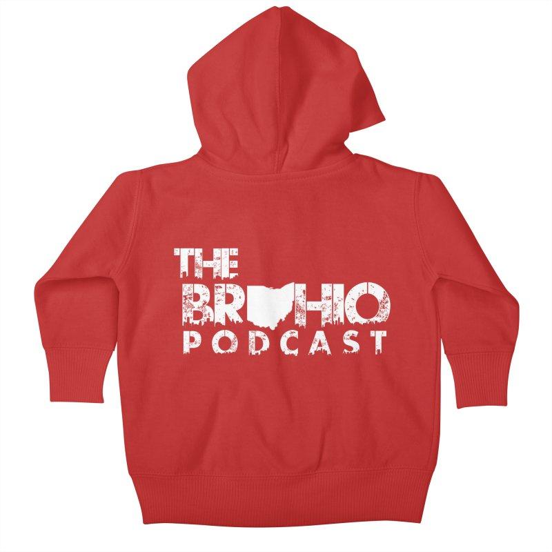 Brohio logo ALL WHITE Kids Baby Zip-Up Hoody by Brohio Merch