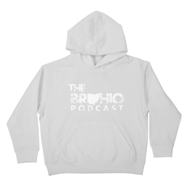 Brohio logo ALL WHITE Kids Pullover Hoody by Brohio Merch