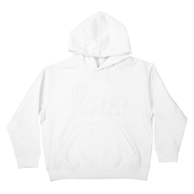Brohio logo ALL WHITE Kids Pullover Hoody by Brohio Merch