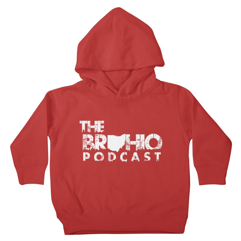 Brohio logo ALL WHITE Kids Toddler Pullover Hoody by Brohio Merch