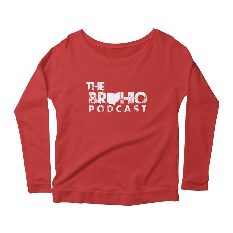 Brohio logo ALL WHITE Women's Scoop Neck Longsleeve T-Shirt by Brohio Merch