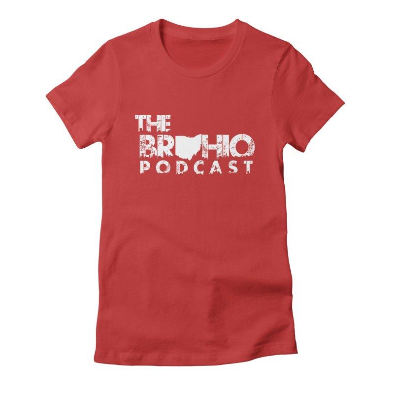 Brohio logo ALL WHITE Women's Fitted T-Shirt by Brohio Merch