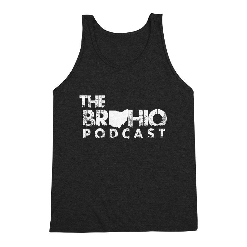 Brohio logo ALL WHITE Men's Triblend Tank by Brohio Merch