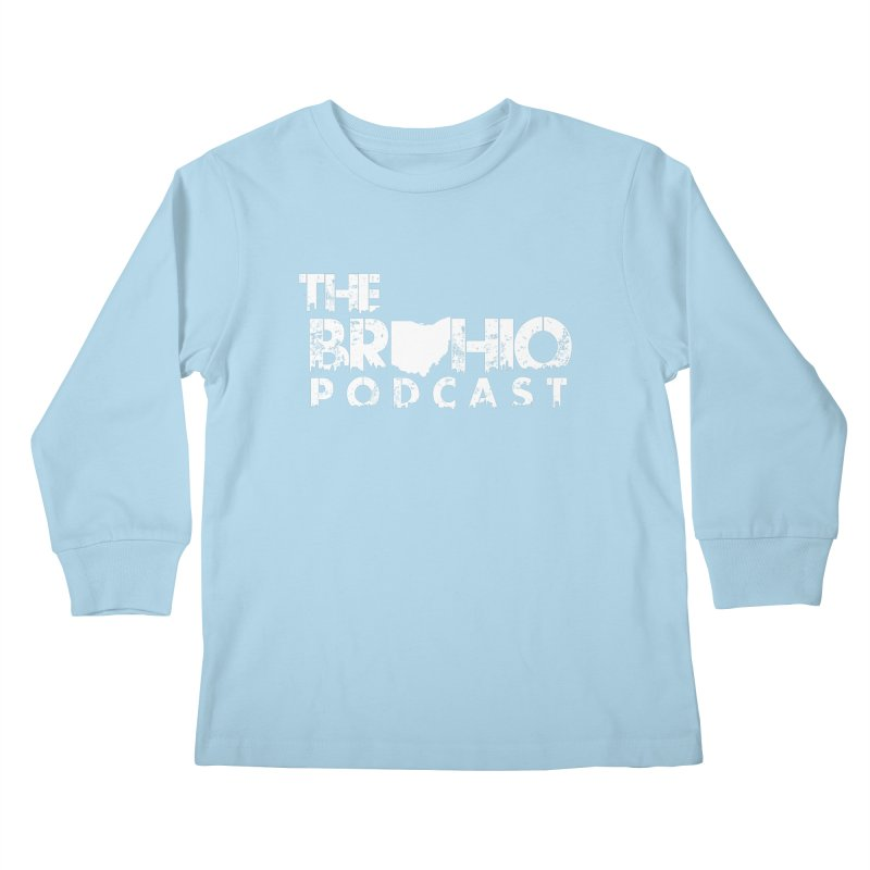 Brohio logo ALL WHITE Kids Longsleeve T-Shirt by Brohio Merch