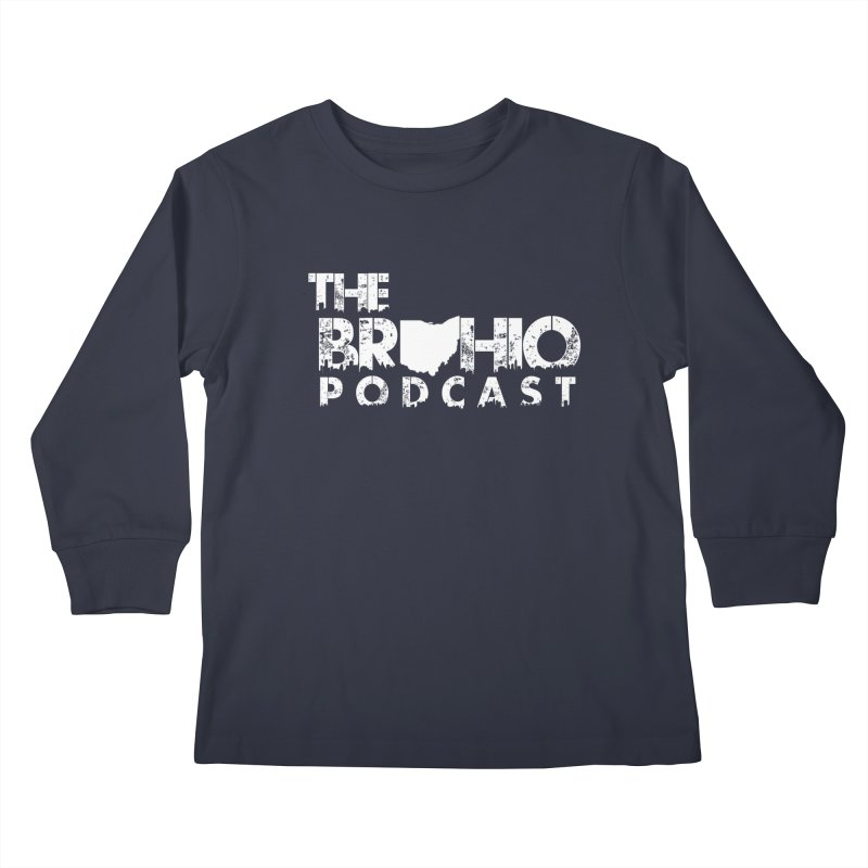 Brohio logo ALL WHITE Kids Longsleeve T-Shirt by Brohio Merch