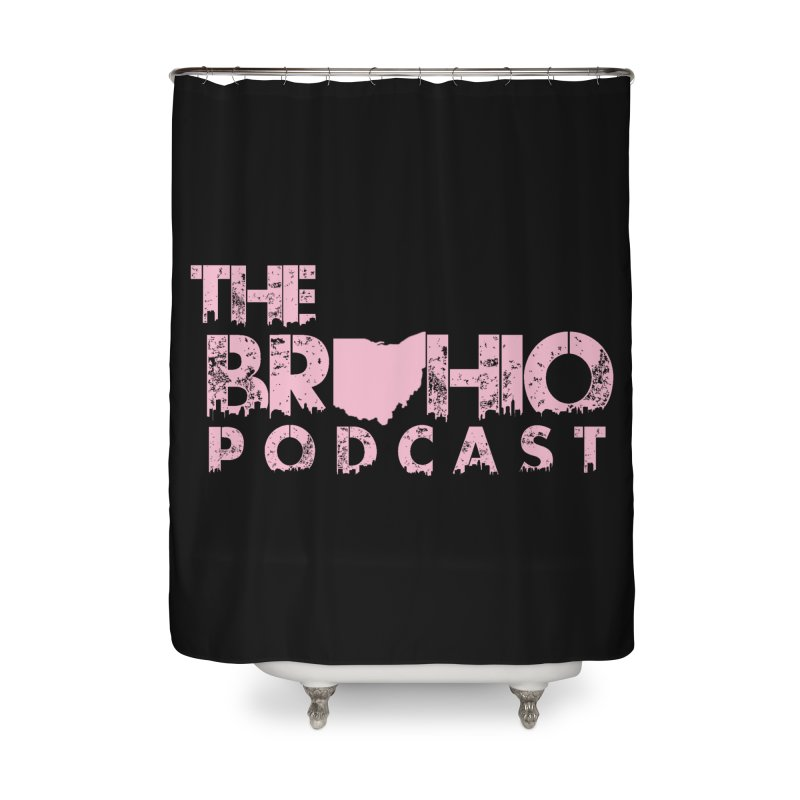 Pink logo Home Shower Curtain by Brohio Merch