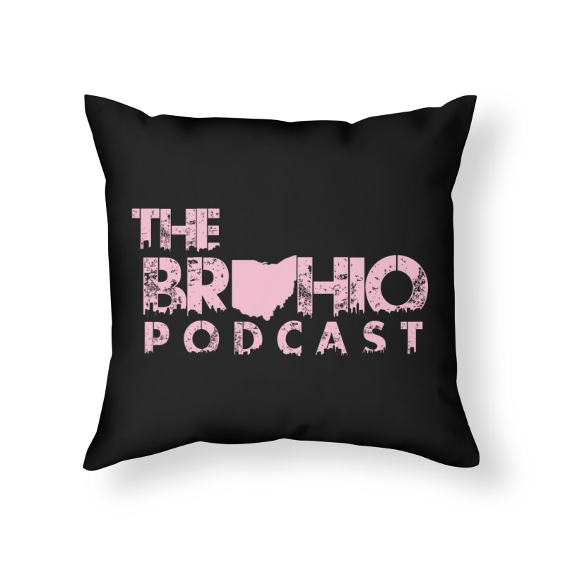 Pink logo Home Throw Pillow by Brohio Merch