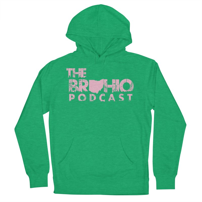 Pink logo Men's French Terry Pullover Hoody by Brohio Merch