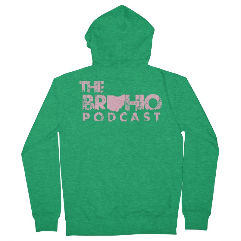 Pink logo Men's French Terry Zip-Up Hoody by Brohio Merch