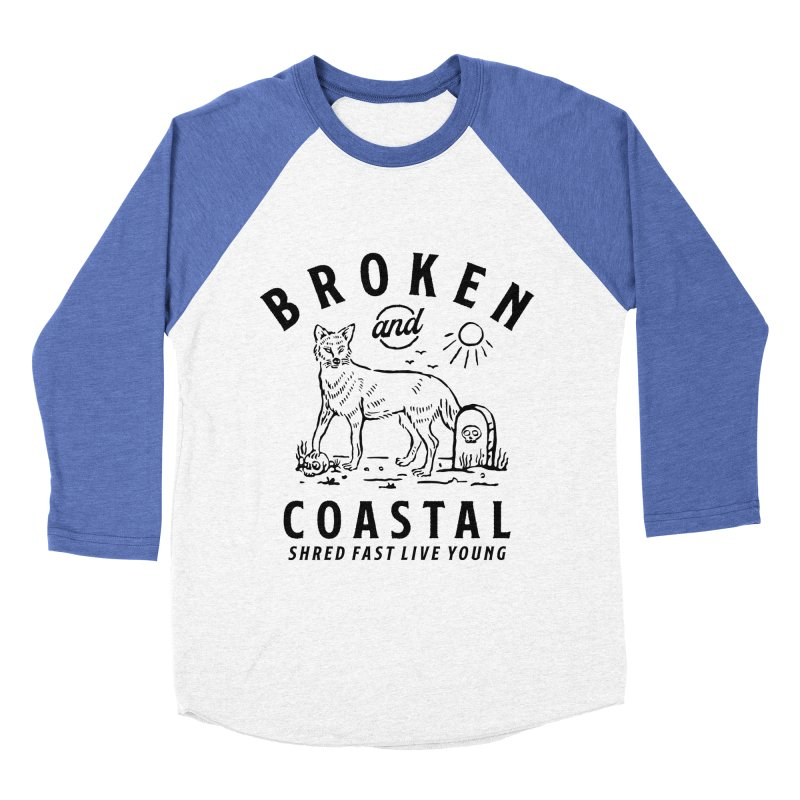 The Black Fox in Women's Baseball Triblend Longsleeve T-Shirt Tri-Blue Sleeves by Broken & Coastal