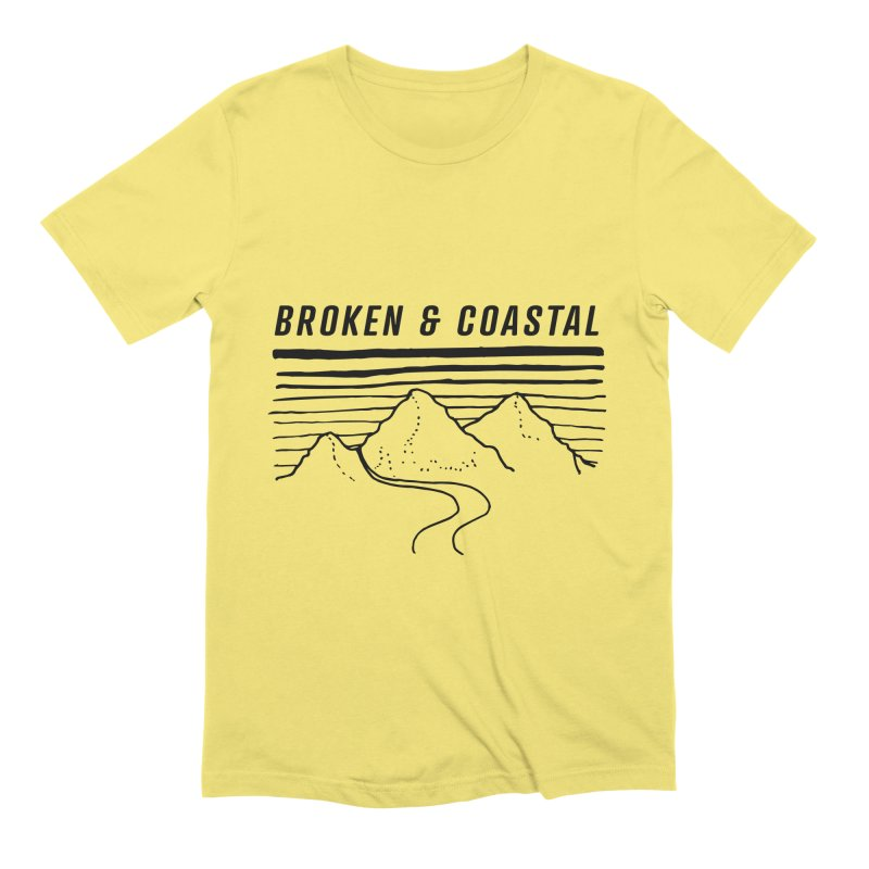 The Black Mountains in Men's Extra Soft T-Shirt Light Yellow by Broken & Coastal