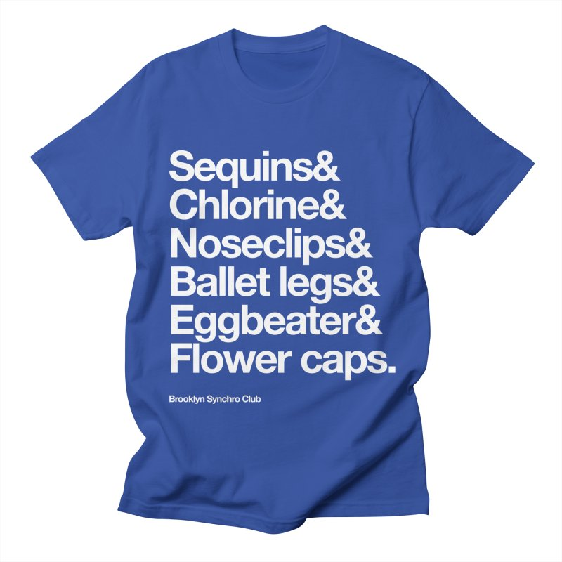 Sequins & Chlorine - White Text Men's T-Shirt by Brooklyn Synchro Club