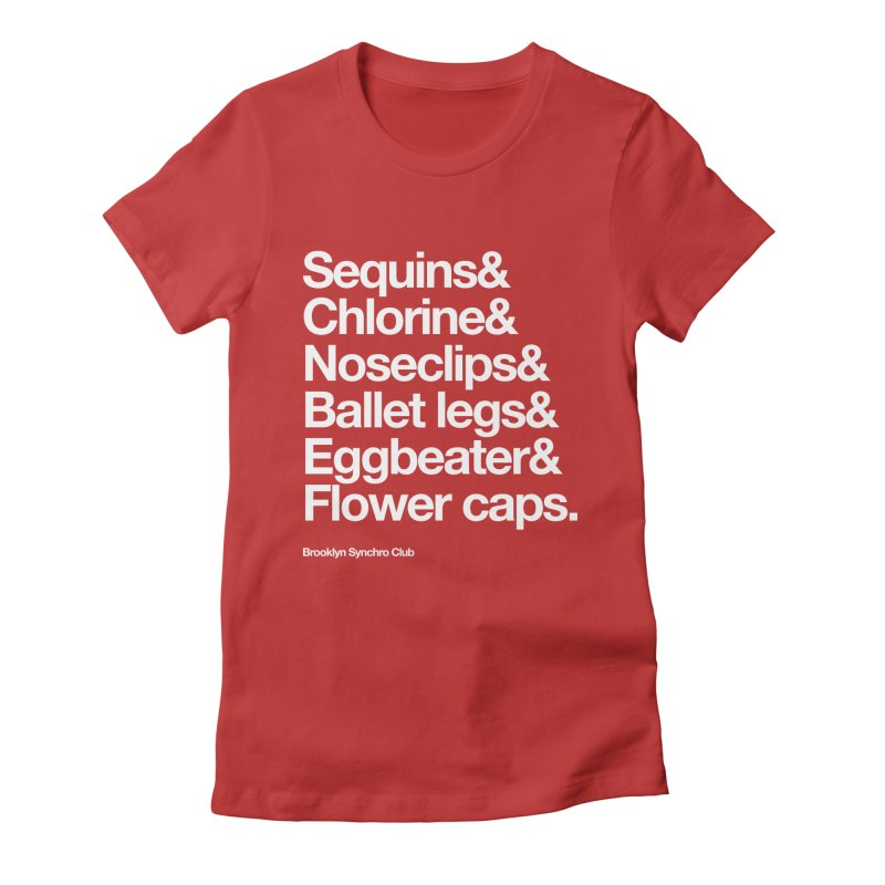 Sequins & Chlorine - White Text Women's Fitted T-Shirt by Brooklyn Synchro Club