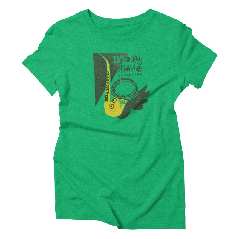 Sax (green background) Women's T-Shirt by Brooks Prumo Orchestra's Shop