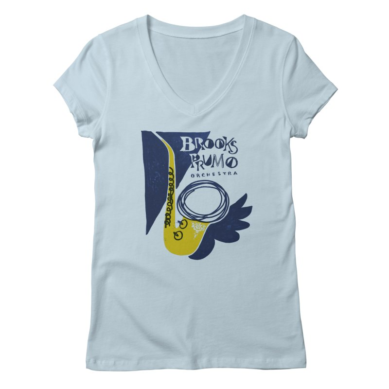 Sax (blue background) Women's Regular V-Neck by Brooks Prumo Orchestra's Shop