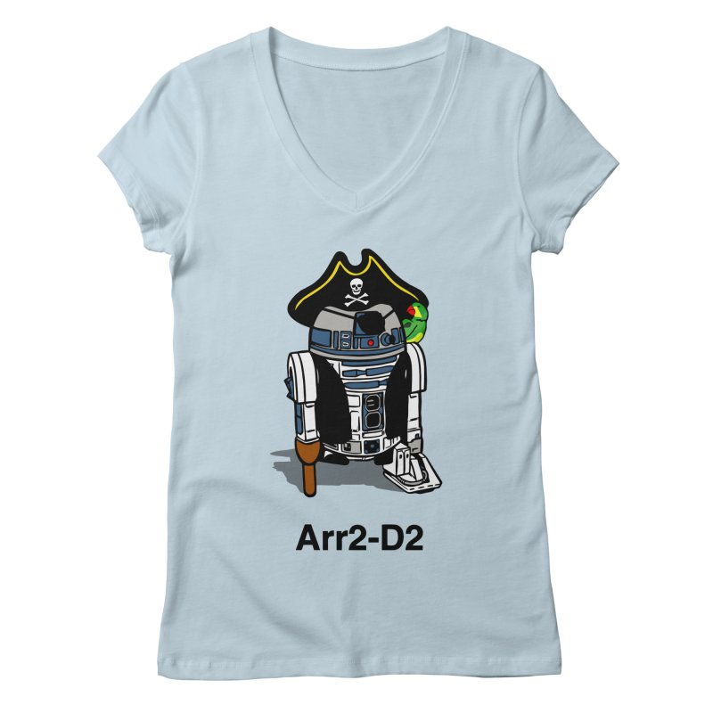 Pirate Droid... Arr2-D2 Women's Regular V-Neck by Brother Adam Design