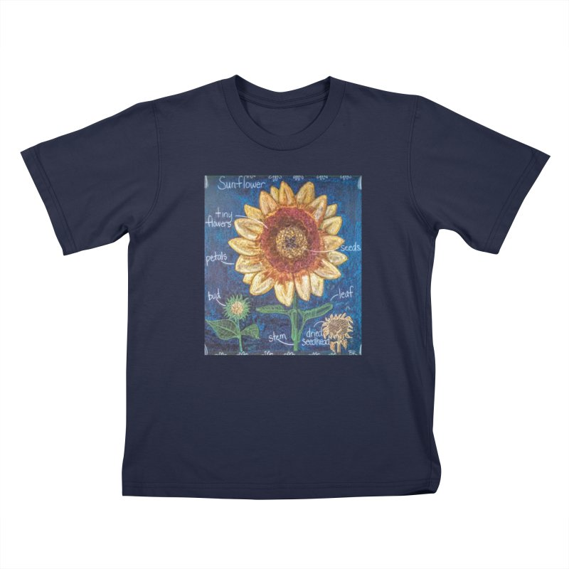Botanical Sunflower Kids T-Shirt by brusling's Artist Shop