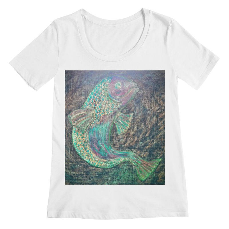 F is for Fish Women's Scoopneck by brusling's Artist Shop