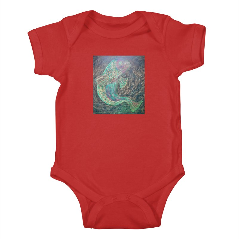 F is for Fish Kids Baby Bodysuit by brusling's Artist Shop