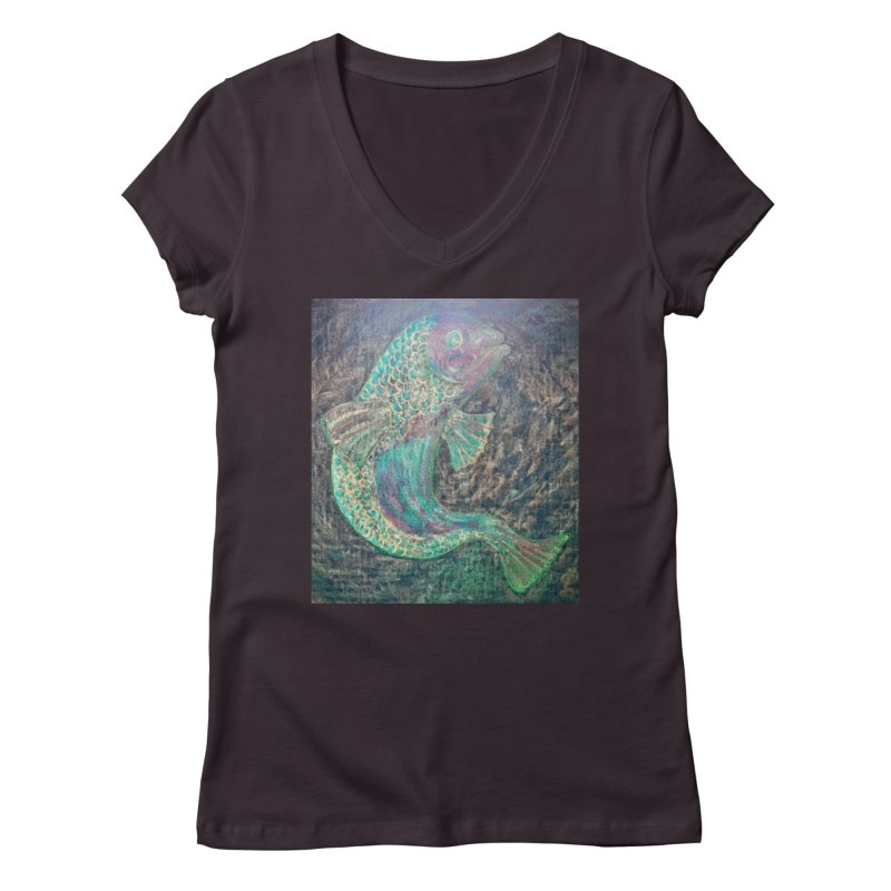 F is for Fish Women's V-Neck by brusling's Artist Shop