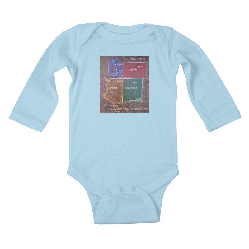Four Corners Kids Baby Longsleeve Bodysuit by brusling's Artist Shop