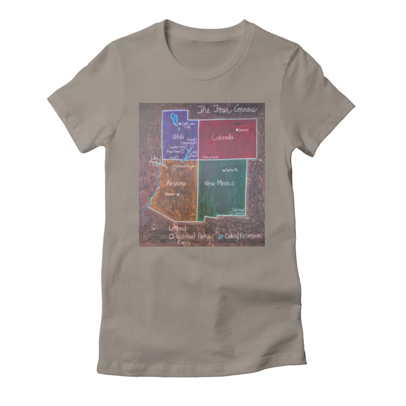 Four Corners Women's Fitted T-Shirt by brusling's Artist Shop