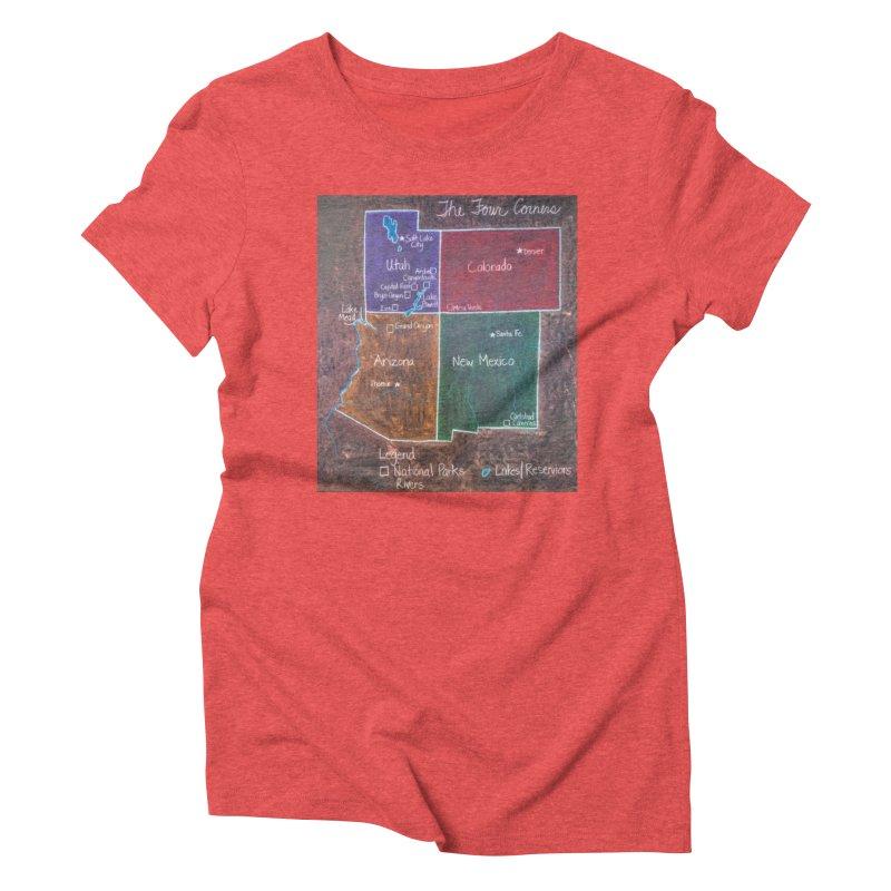 Four Corners Women's Triblend T-shirt by brusling's Artist Shop