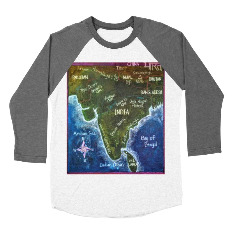 Map of Ancient India Women's Baseball Triblend T-Shirt by brusling's Artist Shop