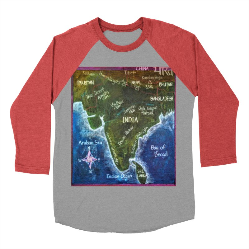 Map of Ancient India Men's Baseball Triblend T-Shirt by brusling's Artist Shop