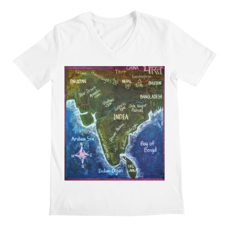 Map of Ancient India Men's V-Neck by brusling's Artist Shop