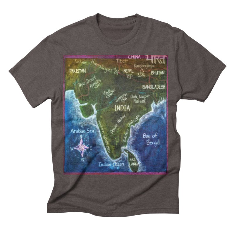Map of Ancient India Men's Triblend T-shirt by brusling's Artist Shop