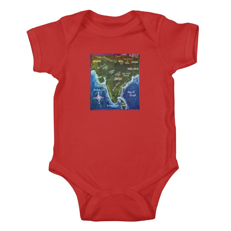 Map of Ancient India Kids Baby Bodysuit by brusling's Artist Shop
