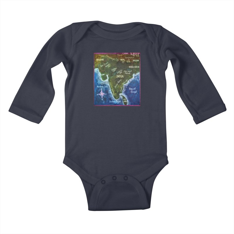 Map of Ancient India Kids Baby Longsleeve Bodysuit by brusling's Artist Shop