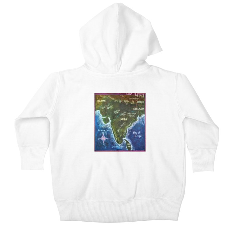 Map of Ancient India Kids Baby Zip-Up Hoody by brusling's Artist Shop