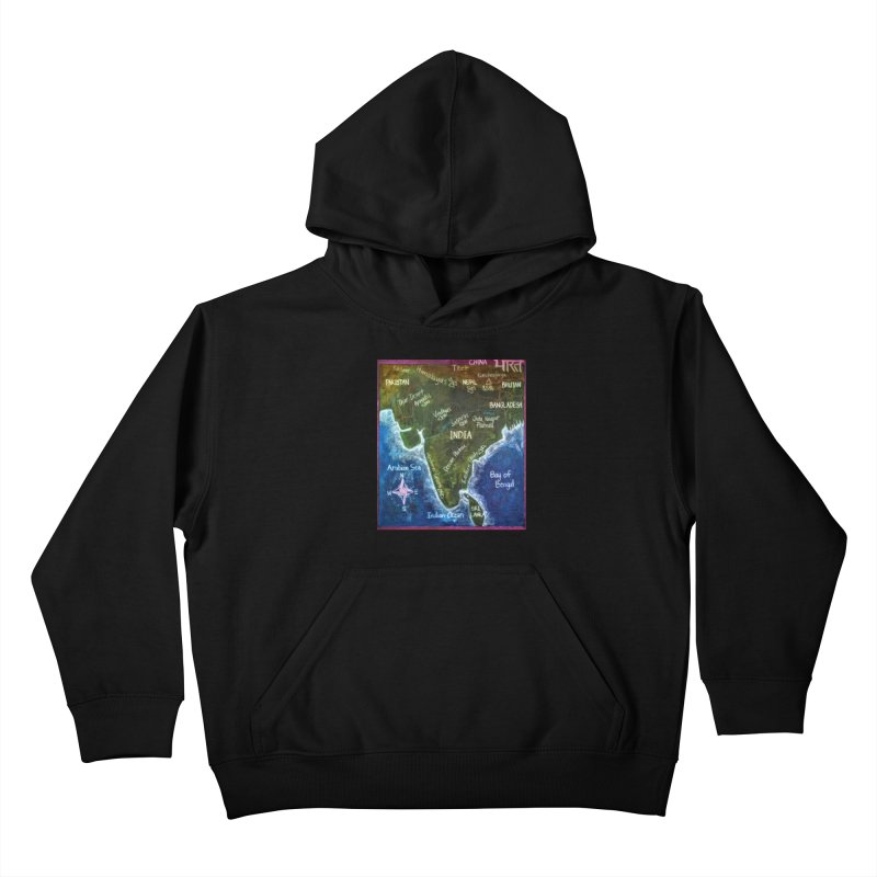 Map of Ancient India Kids Pullover Hoody by brusling's Artist Shop