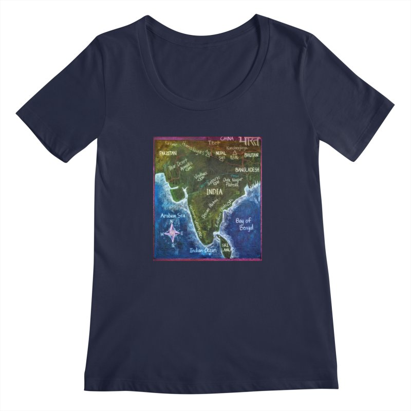 Map of Ancient India Women's Scoopneck by brusling's Artist Shop