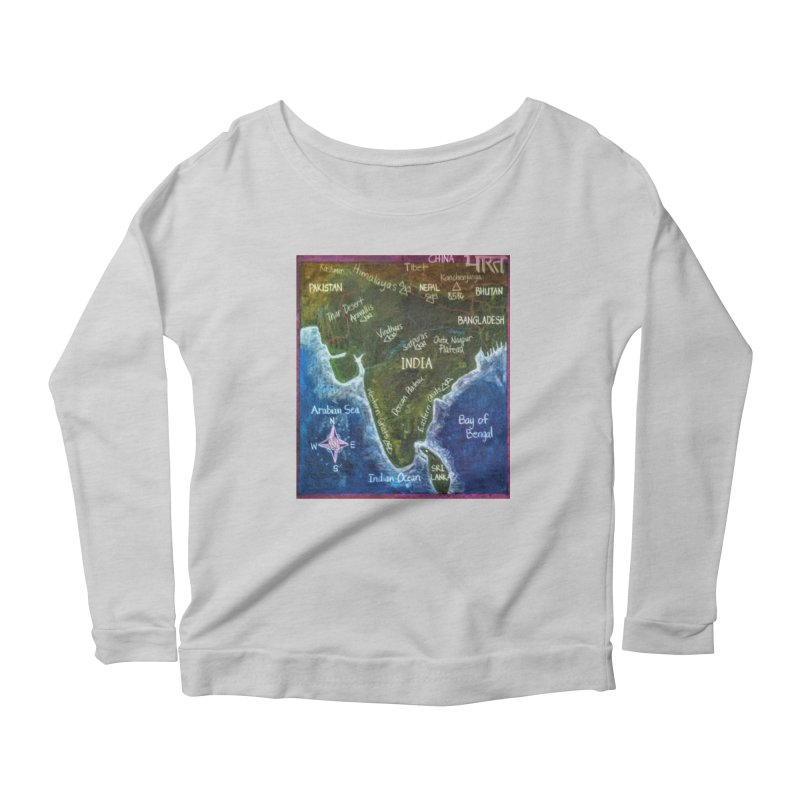Map of Ancient India Women's Longsleeve Scoopneck  by brusling's Artist Shop