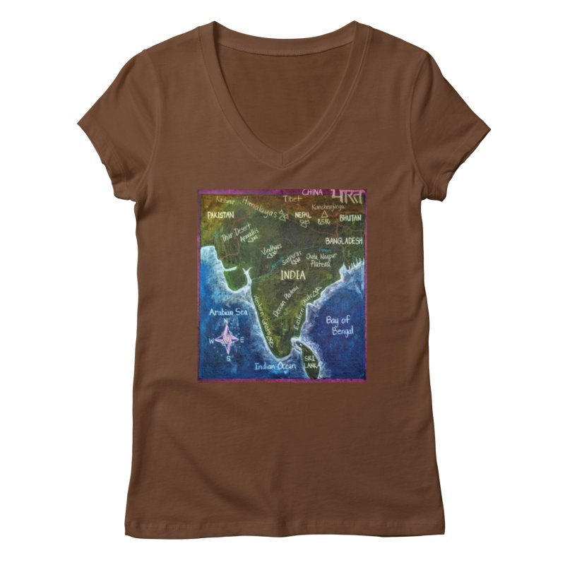 Map of Ancient India Women's V-Neck by brusling's Artist Shop