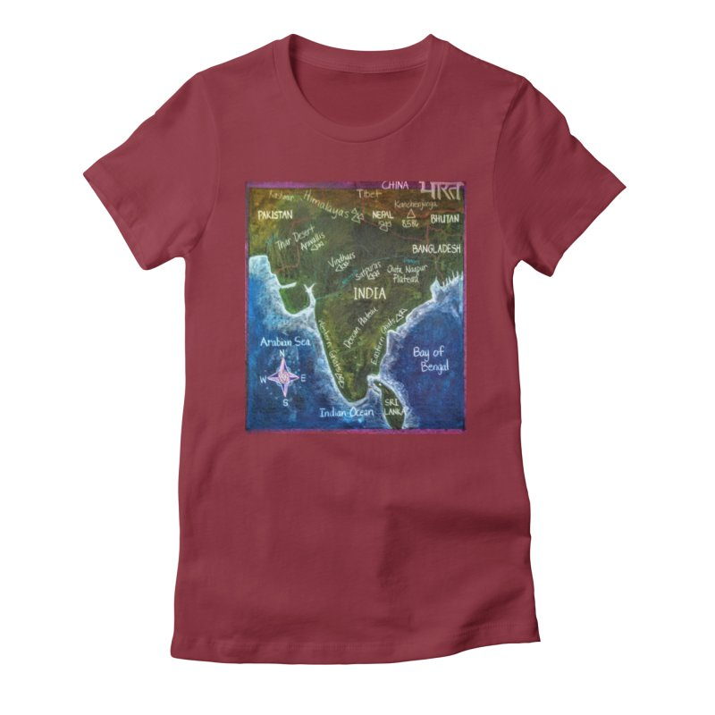 Map of Ancient India Women's Fitted T-Shirt by brusling's Artist Shop