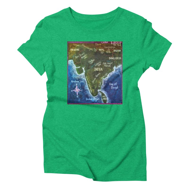Map of Ancient India Women's Triblend T-shirt by brusling's Artist Shop