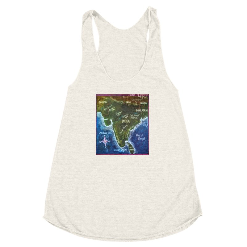 Map of Ancient India Women's Racerback Triblend Tank by brusling's Artist Shop