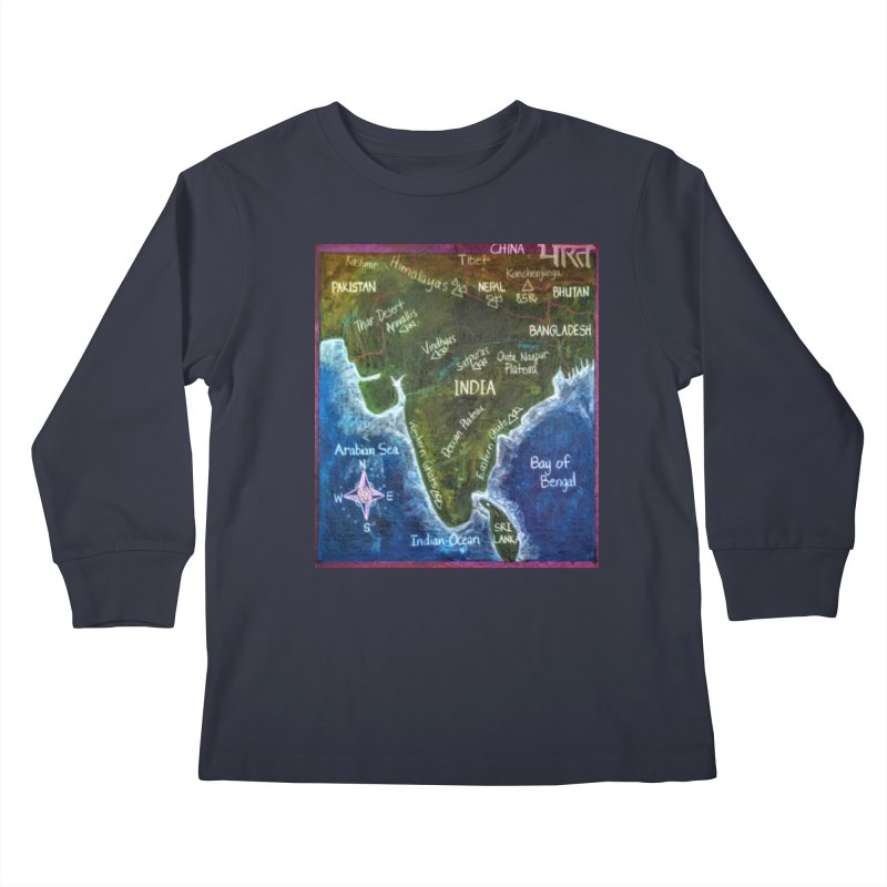 Map of Ancient India Kids Longsleeve T-Shirt by brusling's Artist Shop
