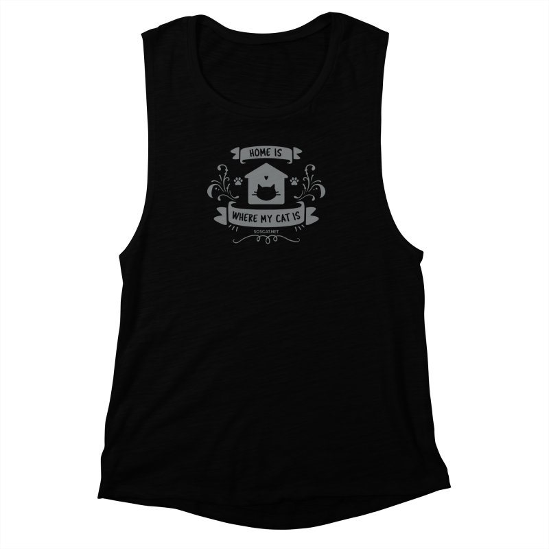 Home is where my cat is Women's Muscle Tank by Shop to help cats