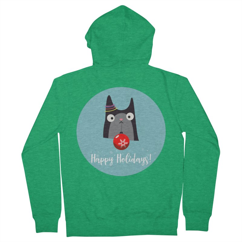 Happy Holidays, Cat Women's Zip-Up Hoody by Shop to help cats