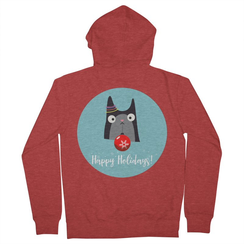 Happy Holidays, Cat Men's Zip-Up Hoody by Shop to help cats