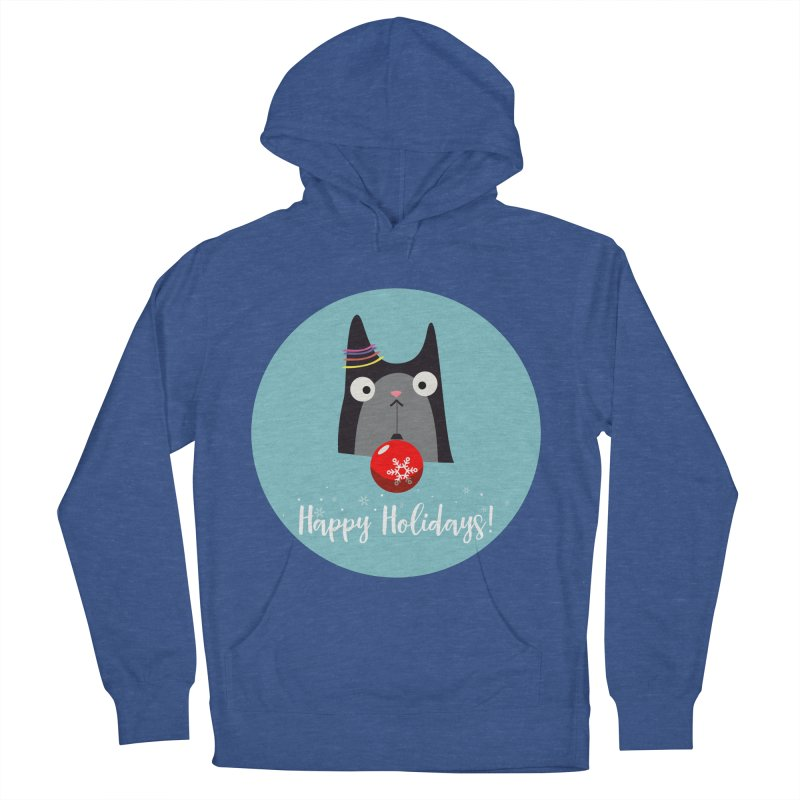 Happy Holidays, Cat Men's French Terry Pullover Hoody by Shop to help cats