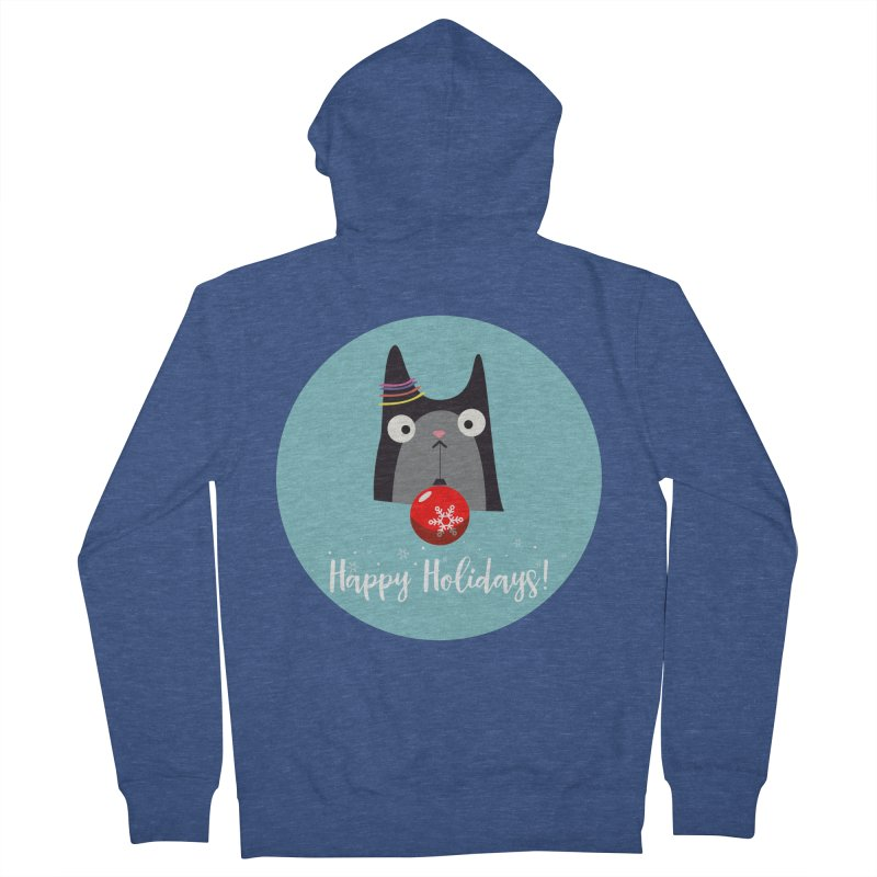 Happy Holidays, Cat Women's French Terry Zip-Up Hoody by Shop to help cats
